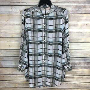 Vince Camuto Sz Small Brown Pink Plaid Blouse